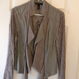 Taupe jacket with lace panels
